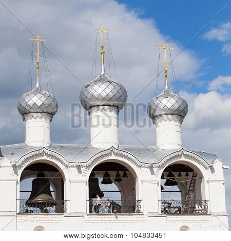 Rostov Veliky Russia - Jun 12 2015: The great belfry of the Assumption Cathedral in the Kremlin of the Rostov Veliky (Rostov the Great Golden Ring of Russia) on a sunny day on Jun 12 Rostov Veliky Russia.