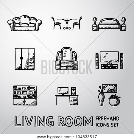 Set of Living Room freehand icons - sofa, dining table, bed, cupboard, mirror, tv, bookshelf, vases