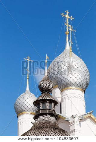 Domes Of The Holy Gates And The Resurrection Church In The Kremlin Of The Rostov Veliky