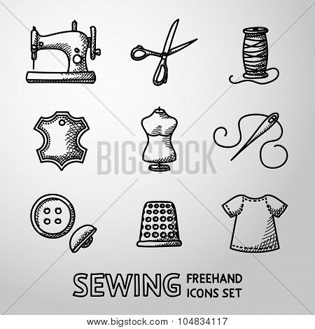 Set of handdrawn sewing icons - machine, scissors, thread, leather tag,mannequin, needle, buttons, t