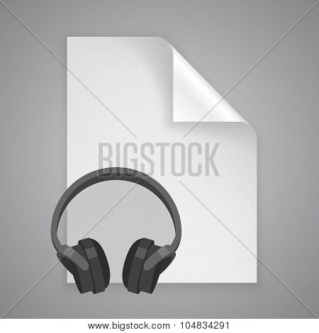 Paper symbol headphones