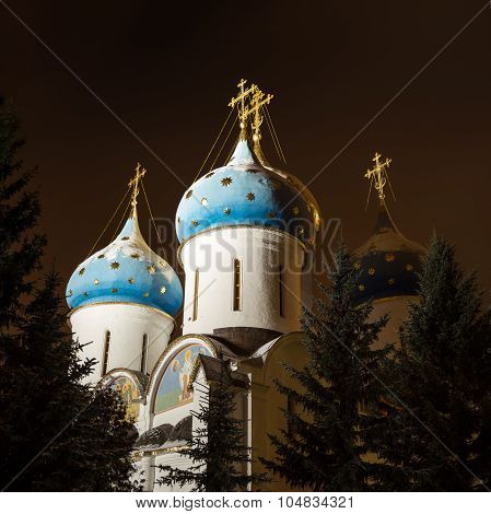 Night view of the Assumption Cathedral of the Trinity Lavra of St. Sergius