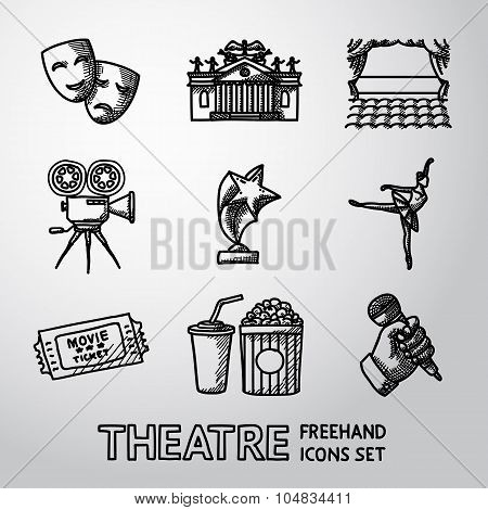 Set of freehand Theatre icons - masks, theater, stage, cinema, award, ballet, ticket, popcorn and co