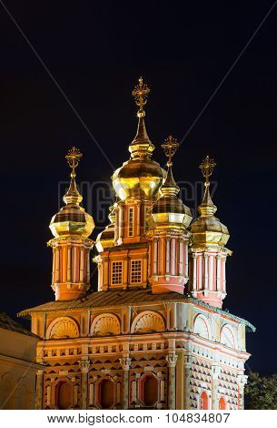 Church of St.John The Baptist of the Trinity Lavra of St. Sergius with a spectacular illumination
