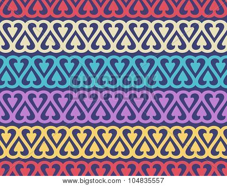 Seamless pattern with repeated colored heart shapes