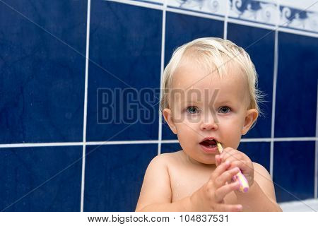 Little Girl Brusing Teeth