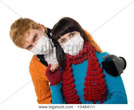 Man Embraces A Woman Wearing Masks, Flu