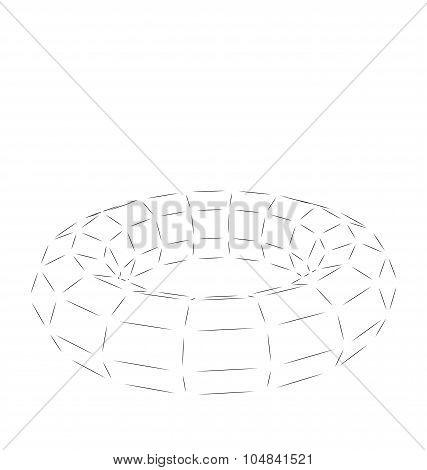 Wireframe Polygonal 3D Torus