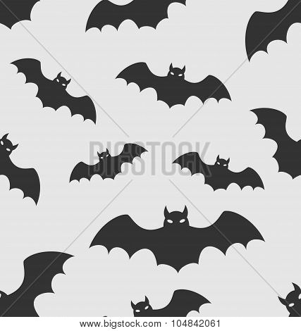 Seamless Pattern with Black Silhouettes of Bats