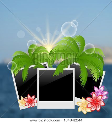 Set photo frame with palms, flowers, on blurred seascape backgro