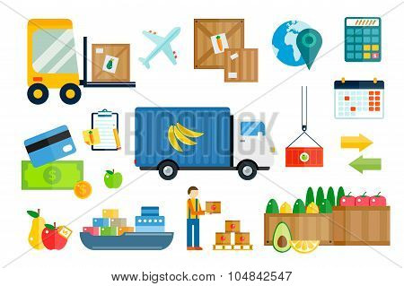 Import export fruits and vegetables delivery vector icons set