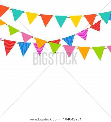Set Bunting Pennants with Ornamental Texture