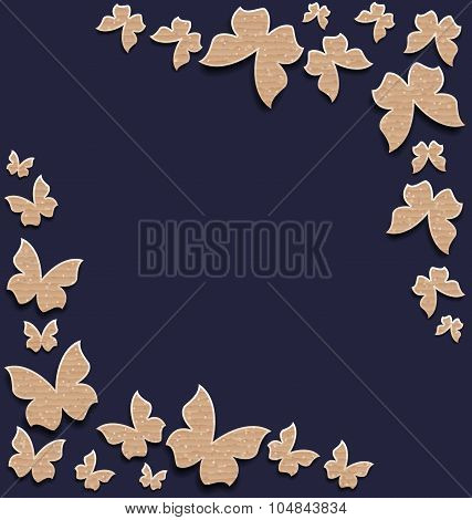 Cute card with butterflies, composition made in carton paper