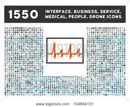 Cardiogram Icon and More Interface, Business, Medical, People, Awards Vector Symbols