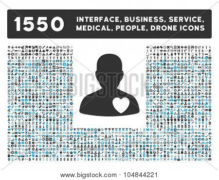 Cardiology Patient Icon and More Interface, Business, Medical, People, Awards Vector Symbols