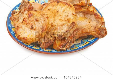 Grilled Pork Veal On A Plate Isolated