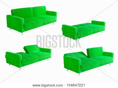 modern convertible green sofa four phases , on white background