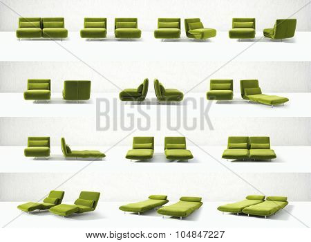 modern design convertible green chair in it's multiple transitions from chair to double couch and bed