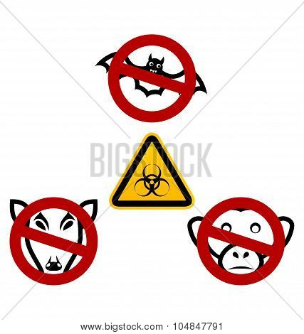 Stop signs in order to avoid disease Ebola virus