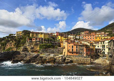 Tellaro Rocks And Village On The Sea. Cinque Terre, Ligury Italy
