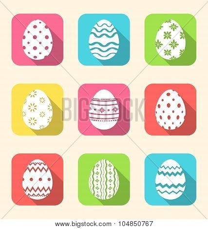 Flat icon of Easter ornate eggs, long shadow style