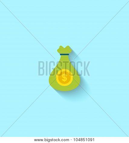 Flat Icon of Canvas Bag Money