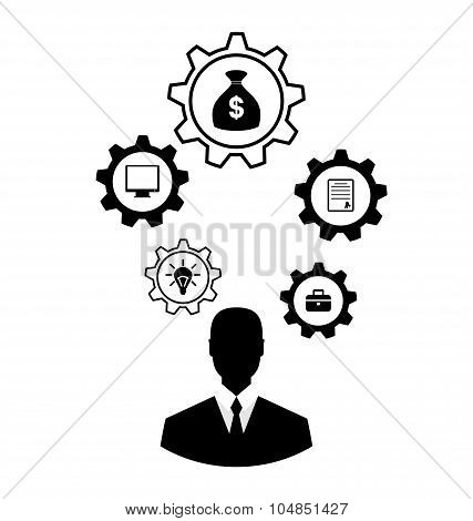 Businessman head with cogwheels. Brain storming, successful busi
