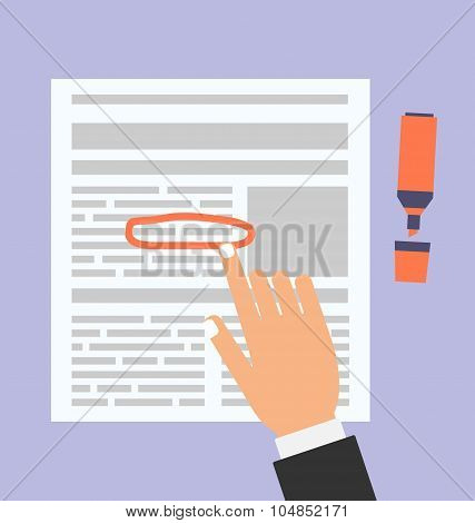 Businessman Highlights the Text in Document Marker