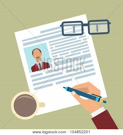 Concept of Resume Writing, Flat Simple Icons