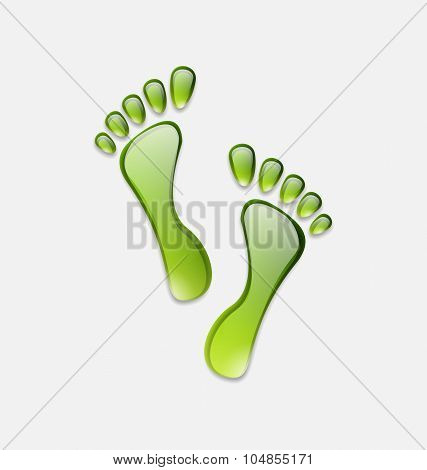 Water green human foot print  isolated on white background