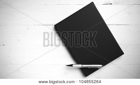 Brown Notebook And Pen Black And White Tone Color Style