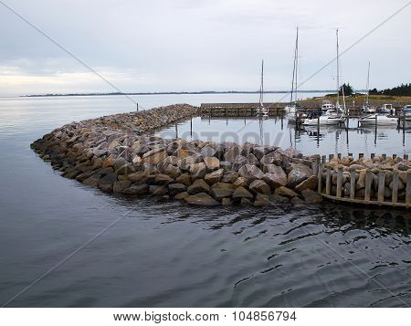 Modern Breakwater Protecting A Port