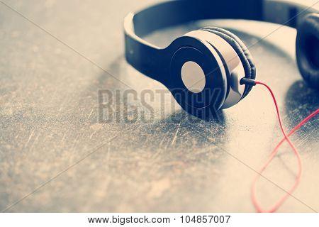 the vintage shot of headphones