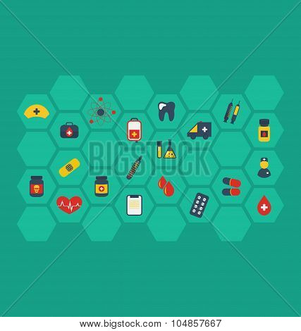 Collection colorful flat medical icons
