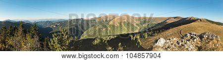 Amazing Panorama Of Mountains Ridge Under Blue Sky