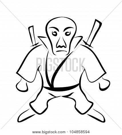 Sketch of Character Ninja, Isolated on White Background, Hand-dr