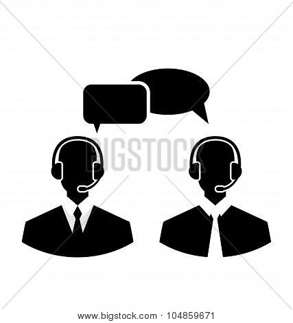 Flat icons of call center silhouette mans operators wearing head