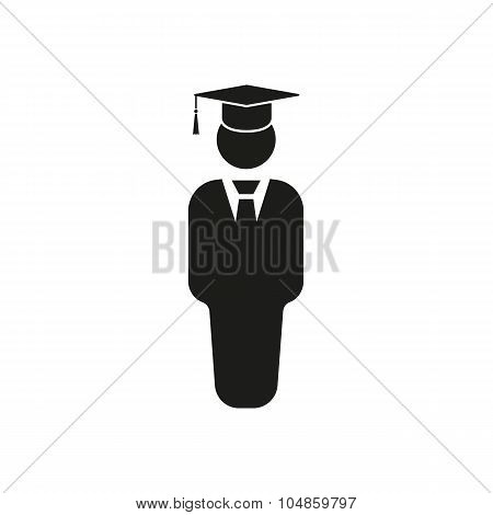 The student boy icon. School and academy, college, education symbol. Flat