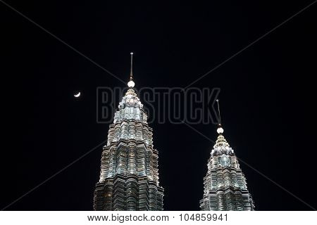 Close up view of the Twin Towers at night