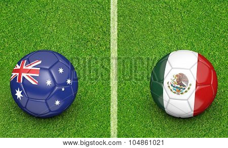 Team balls for Australia vs Mexico soccer tournament match