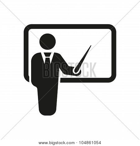 The teacher icon. Training and presentation, seminar, learning symbol. Flat