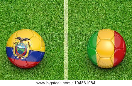 Team balls for Ecuador vs Mali soccer tournament match