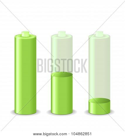 Set battery charge status, isolated on white background