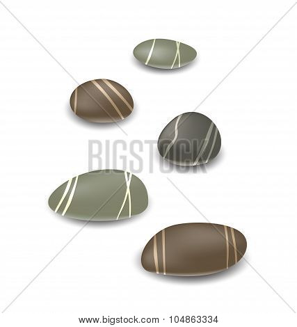 Sea pebbles collection with shadows on white background