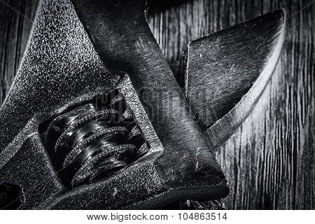 Black And White Adjustable Spanner Macro