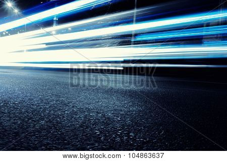 Bright Neon Blue Car Light Trails