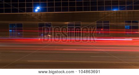 Bright Red Car Light Trails