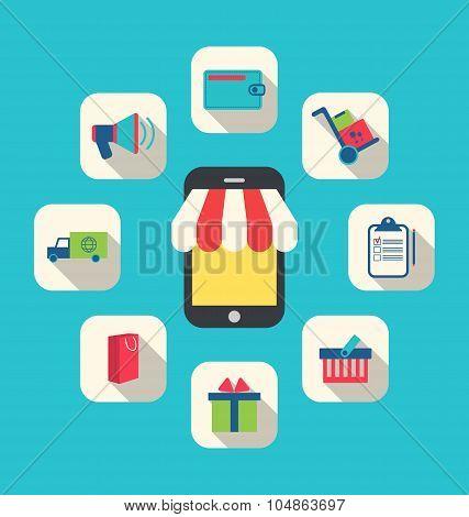Concept of Online Shop, E-commerce, Colorful Simple Icons