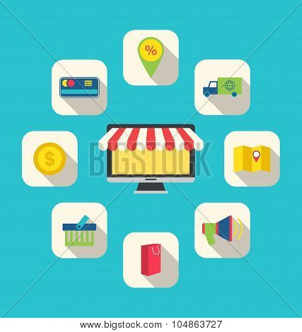 Flat Icons of E-commerce Shopping Symbols
