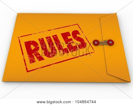 Rules word stamped in red ink on yellow envelope containing guidelines, laws, regulations or instructions